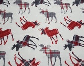 Flannel Fabric - Patterned Trap Moose Tossed - By the yard - 100% Cotton Flannel