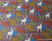 Flannel Fabric - Wilderness Animals Tossed Brown - By the yard - 100% Cotton Flannel