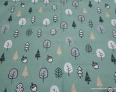 Flannel Fabric - Forest Green Trees - By the yard - 100% Cotton Flannel