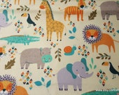 Flannel Fabric - Patterned Zoo Friends - By the yard - 100% Cotton Flannel