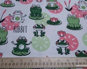 Flannel Fabric - Happy Leap Frog - By the yard - 100% Cotton Flannel