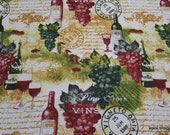 Flannel Fabric - Wine Country - By the yard - 100% Cotton Flannel