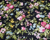 Premium Flannel Fabric - Wild Roses on Black Premium - By the yard - 100% Cotton Flannel