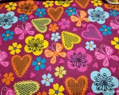 Flannel Fabric - Hearts and Butterflies - By the yard - 100% Cotton Flannel