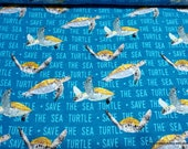 Flannel Fabric - Save the Sea Turtle - By the yard - 100% Cotton Flannel