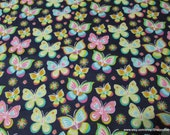 Flannel Fabric - Bright Butterflies on Navy - By the yard - 100% Cotton Flannel