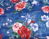 Flannel Fabric - Floral on Denim Print Luxe - By the yard - 70% Rayon, 30 Cotton Luxe Flannel Fabric