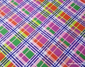 Flannel Fabric - Bright Bias Plaid - By the Yard - 100% Cotton Flannel