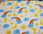 Flannel Fabric - Happy Clouds Rainbows Sun Moon - By the yard - 100% Cotton Flannel