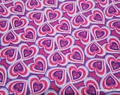 Flannel Fabric - Swirl Heart Pink Purple - By the yard - 100% Cotton Flannel