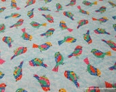 Flannel Fabric - Patterned Birdy Blue  - By the yard - 100% Cotton Flannel