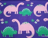 Flannel Fabric - Pink and Green Dinos - By the Yard - 100% Cotton Flannel
