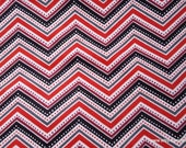 Flannel Fabric - Metro Dotted Chevron Red - By the Yard - 100% Cotton Flannel