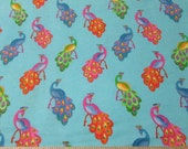 Flannel Fabric - Peacocks on Blue - By the yard - 100% Cotton Flannel