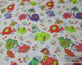 Flannel Fabric - Baby Elephants with Umbrellas - By the yard - 100% Cotton Flannel