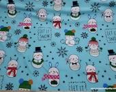 Christmas Flannel Fabric - Snowman Fun on Aqua - By the yard - 100% Cotton Flannel