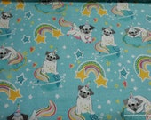 Flannel Fabric - Unipug Rainbow - By the yard - 100% Cotton Flannel
