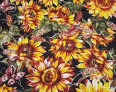 Flannel Fabric - Sunflowers and Butterflies - By the yard - 100% Cotton Flannel