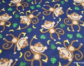 Flannel Fabric - Curious Monkey - By the yard - 100% Cotton Flannel