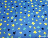 Flannel Fabric - Aliens Stars Blue - By the yard - 100% Cotton Flannel