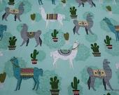 Flannel Fabric - Desert Llama on Aqua - By the yard - 100% Cotton Flannel