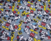 Character Flannel Fabric - Disney Mickey and Minnie Together - By the yard - 100% Cotton Flannel