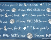 Flannel Fabric - Moon Dream Big - By the yard - 100% Cotton Flannel