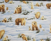 Flannel Fabric - Photo Real Polar Bear - By the yard - 100% Cotton Flannel