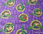 Character Flannel Fabric - Teenage Mutant Ninja TMNT Turtles Badges - By the Yard - 100% Cotton Flannel