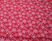 Christmas Flannel Fabric - Red Flakes - By the yard - 100% Cotton Flannel