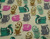 Flannel Fabric - Kitty Breeds - By the Yard - 100% Cotton Flannel