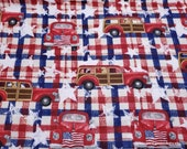 Flannel Fabric - Patriotic Cars on Plaid - By the yard - 100% Cotton Flannel