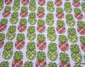 Flannel Fabric - Colorful Pineapples - By the Yard - 100% Cotton Flannel
