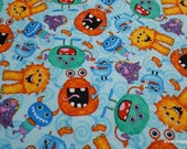 Flannel Fabric - Happy Monsters on Blue - By the yard - 100% Cotton Flannel