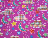 Flannel Fabric - Dot Moon Fuschia - By the yard - 100% Cotton Flannel