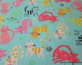 Flannel Fabric - Bubblegum Kitty - By the yard - 100% Cotton Flannel