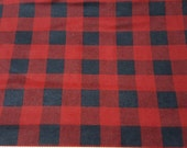 Flannel Fabric - Red Black Buffalo Check - By the yard - 100% Cotton Flannel