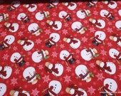 Christmas Premium Flannel Fabric - Gnomies Snowmen on Red Premium - By the yard - 100% Premium Cotton Flannel