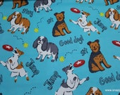 Flannel Fabric - Energetic Pups - By the Yard - 100% Cotton Flannel