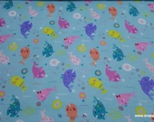 Flannel Fabric - Narwhal and Donut Party - By the yard - 100% Cotton Flannel