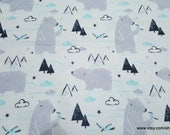 Christmas Flannel Fabric - Sketched Polar Bear - By the yard - 100% Cotton Flannel