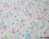 Flannel Fabric - Storks - By the yard - 100% Cotton Flannel