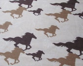 Flannel Fabric - Horses Running Sketch Tan - By the yard - 100% Cotton Flannel