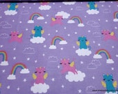 Flannel Fabric - Caticorns - By the yard - 100% Cotton Flannel