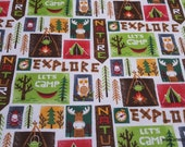 Flannel Fabric - Explore Patch - By the yard - 100% Cotton Flannel