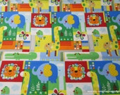 Flannel Fabric - Zoo Mates Patches 2 Ply - 1 yard - 100% Cotton Flannel