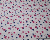 Flannel Fabric - Floating Hearts on White - By the yard - 100% Cotton Flannel