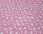 Flannel Fabric - Starry Nights Pink Carnation - By the yard - 100% Cotton Flannel