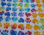 Flannel Fabric - Tie Dye Paws and Hearts - By the yard - 100% Cotton Flannel