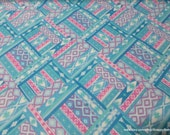 Flannel Fabric - Ikat Diamond Pastel Blue - By the yard - 100% Cotton Flannel